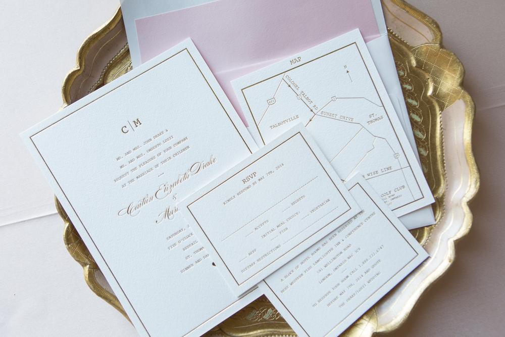 Gold Foil Letterpress Invitations | Beautiful Golf Club Wedding | Wedding Planning & Design by Cynthia Martyn Fine Events | Fine Art Wedding Planner & Designer