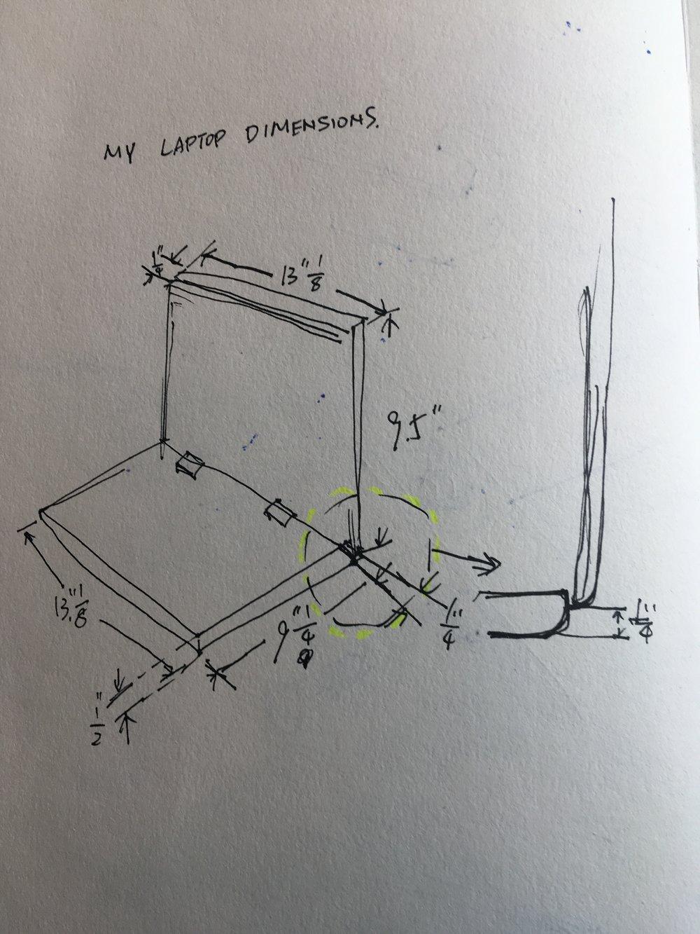 Process:   laptop dimensions