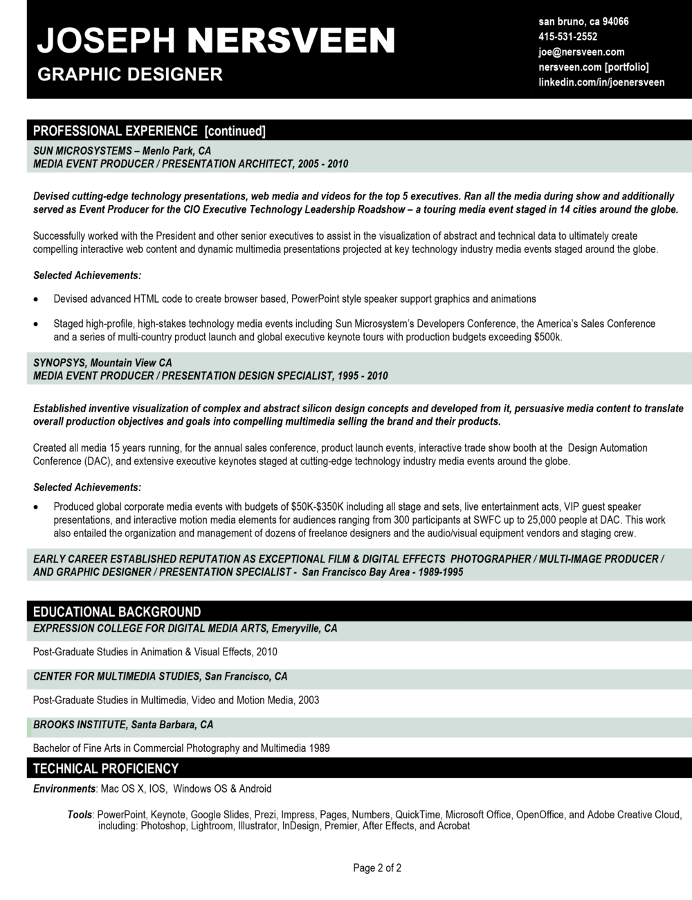 resume joe multimedia design word version