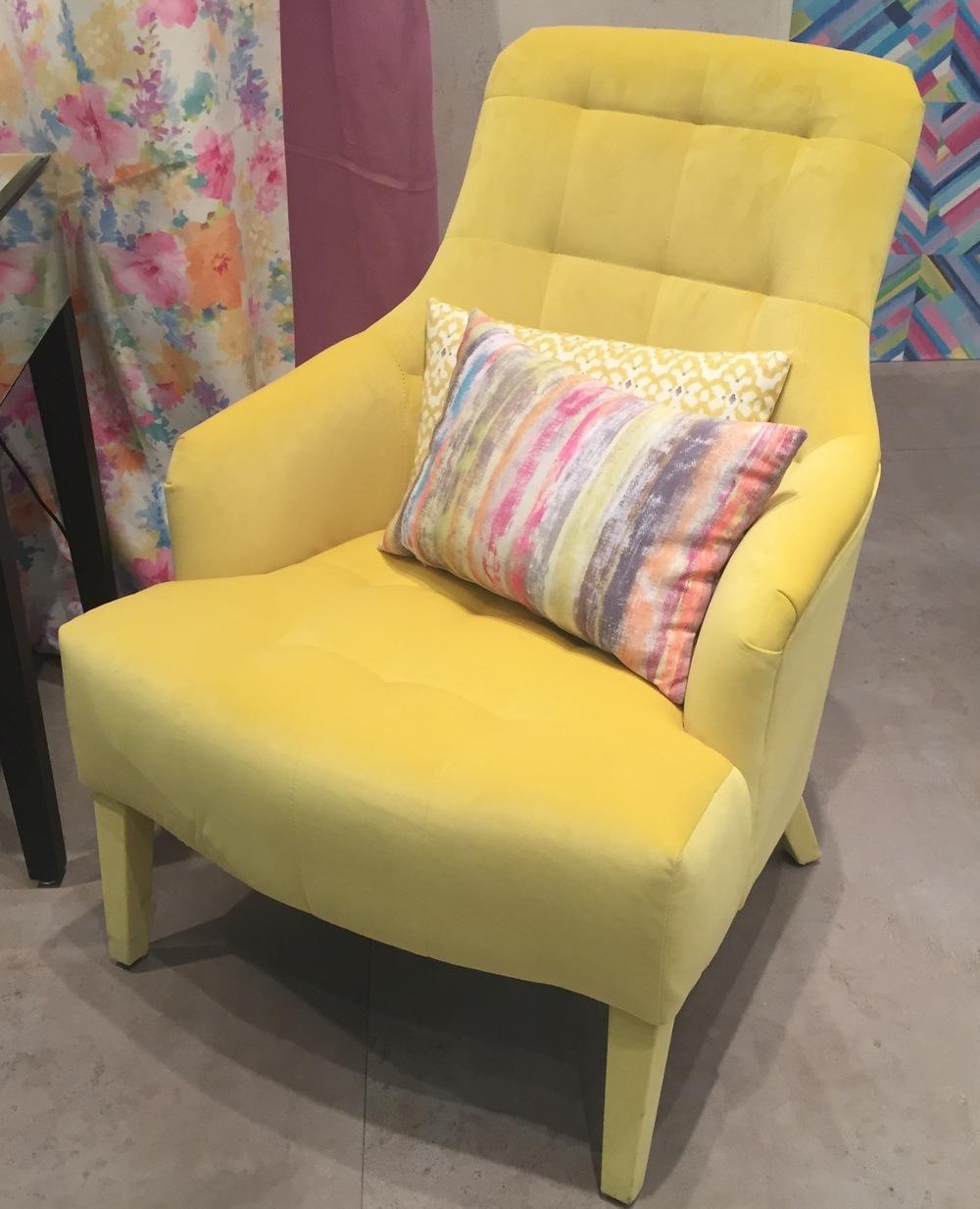 Yellow velvet upholstery - even on the legs.  Castilla Textil of Spain.