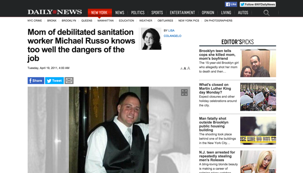 A 2011 report on an accident involving NYC sanitation worker Michael Russo. (NY Daily News)