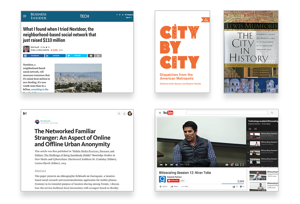 My research spanned articles, research papers, interviews, and books on cities and neighborhoods.