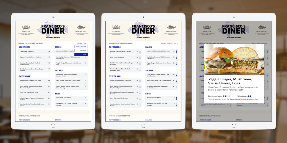 Views from the Paytron smart menu: filtering out foods you avoid, sorting by foods you'll like, and tapping in for more details.