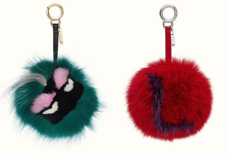 PRICE: MINTY BAG BUG (L) GBP 545 ; ABC L CHARM (R) GBP 400 (Source: Fendi)