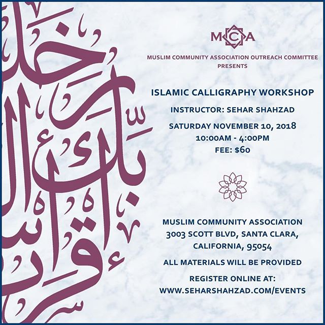 Excited for my next class, in collaboration with Muslim Community Association in Santa Clara. This introductory workshop will cover the development of Islamic calligraphy, the materials and tools of the art, and practical steps to writing the Thuluth script. You'll receive traditional materials including a bamboo pen, ink, and Likka, and practice worksheets.  Register at www.seharshahzad.com/events (link in my bio). See you there!! ☺️
