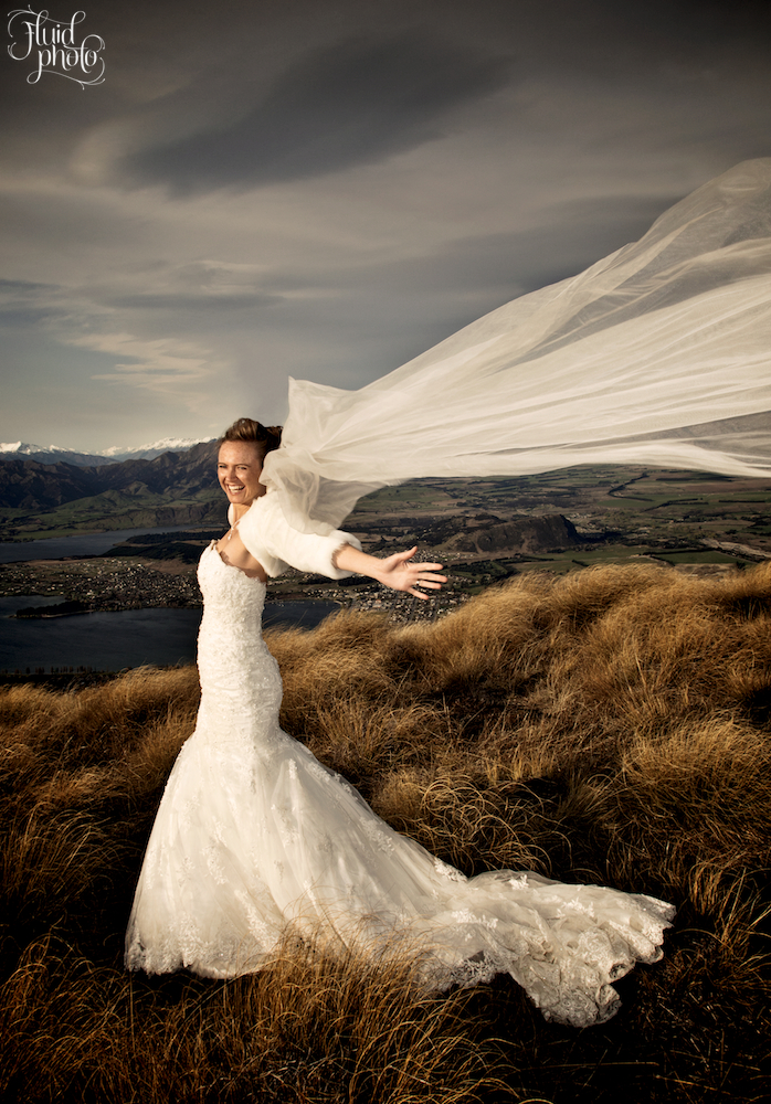 blustery bride wanaka mountain