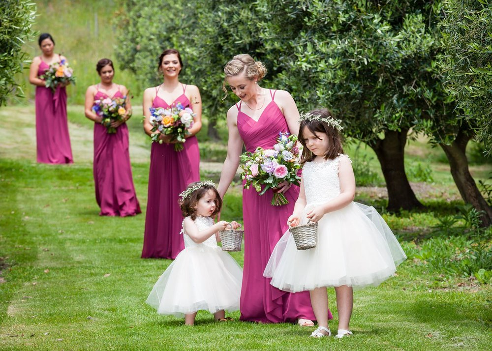 Flowergirls and bridesmaids
