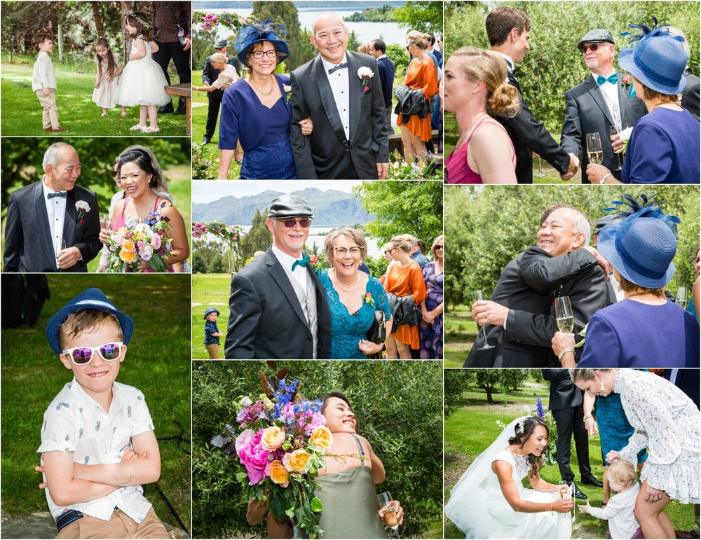 Wedding guests at the Olive Grove Wanaka