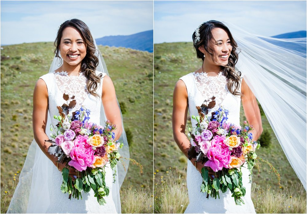 Asian Bride in Wanaka Wedding in the mountains