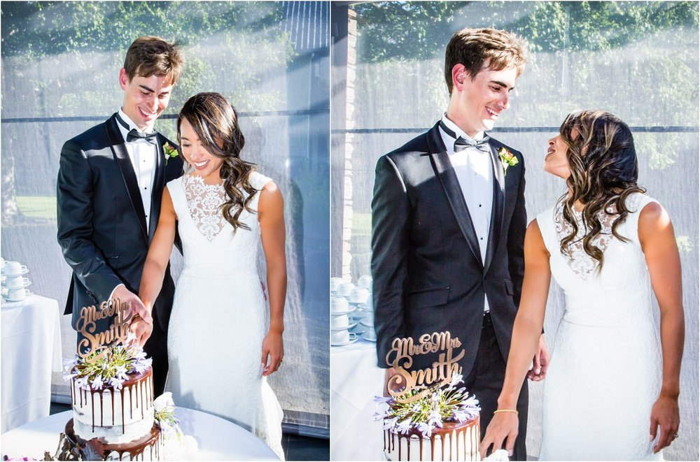 Rachel and Dan cut the cake at their Wanaka Wedding