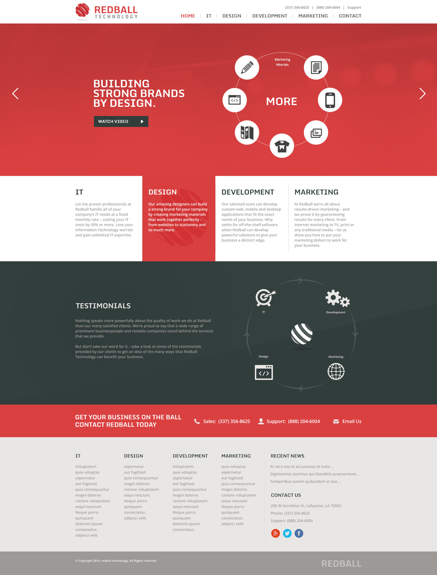 Redball Technology Home Page Design Matthew Wiltz