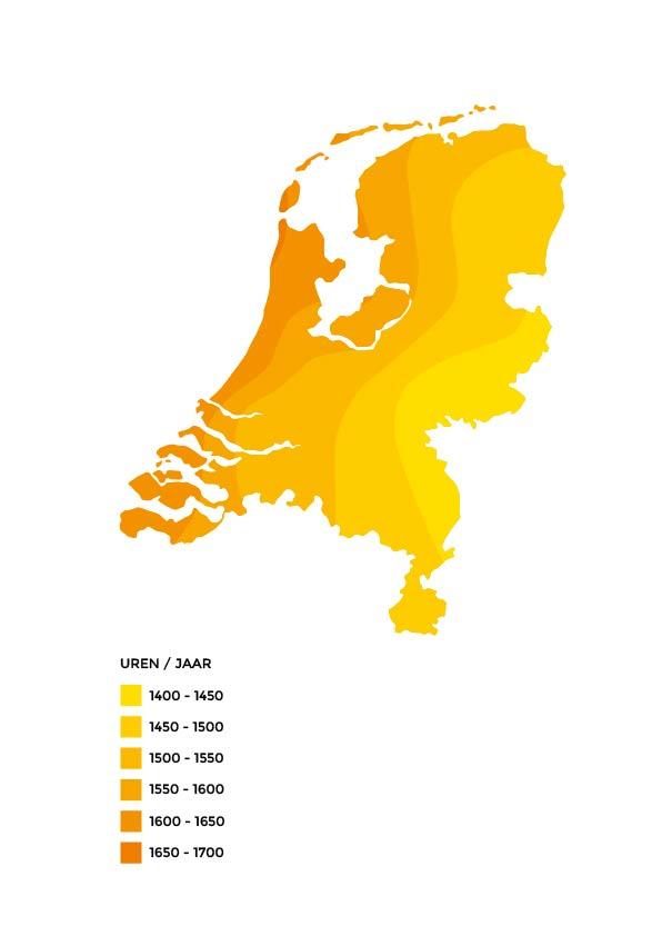 Een locatie moet voldoende zonne-uren per jaar ontvangen om voldoende zonne-energie op te kunnen wekken. Op basis van gegevens van het KNMI blijkt dat eigenlijk heel Nederland geschikt is voor het opwekken van zonne-energie. Het westelijk deel van het eiland kent de meeste zonuren.