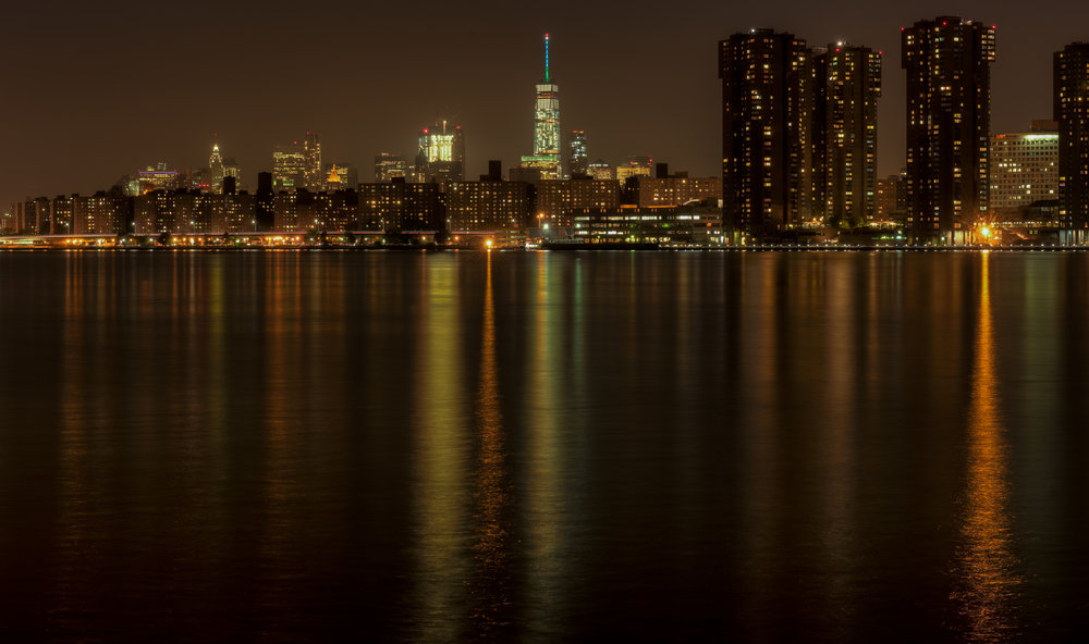 One World Trade (File 4968_69_70) - Jeff M. Picked 29/69September 2016 Teal Tuesday for National Ovarian Cancer Awareness Month. Shot from Long Island City. (L&F Filename 4968_69_70)