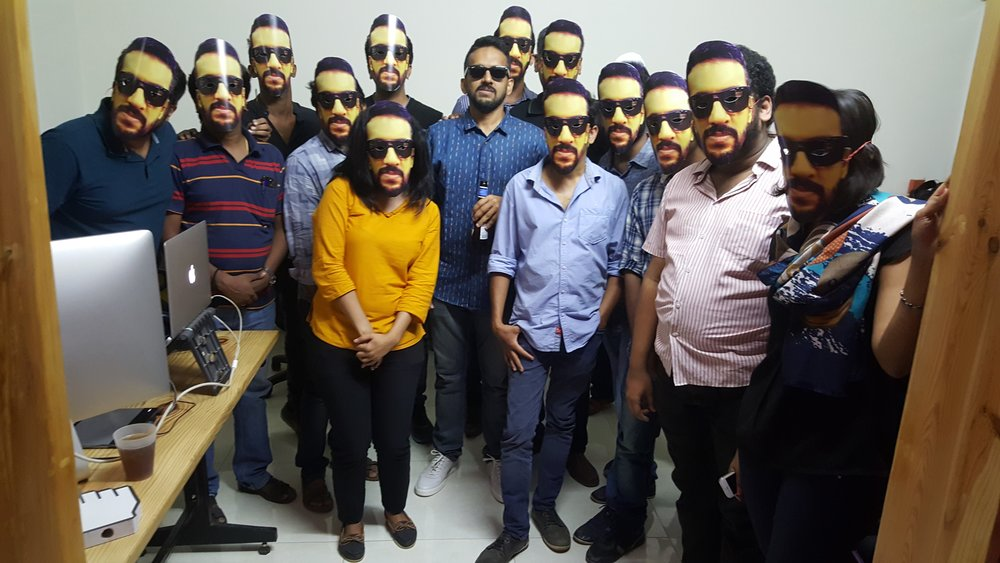 Unlike other cool office gang pics, this one has a part-time Bollywood actor in it.