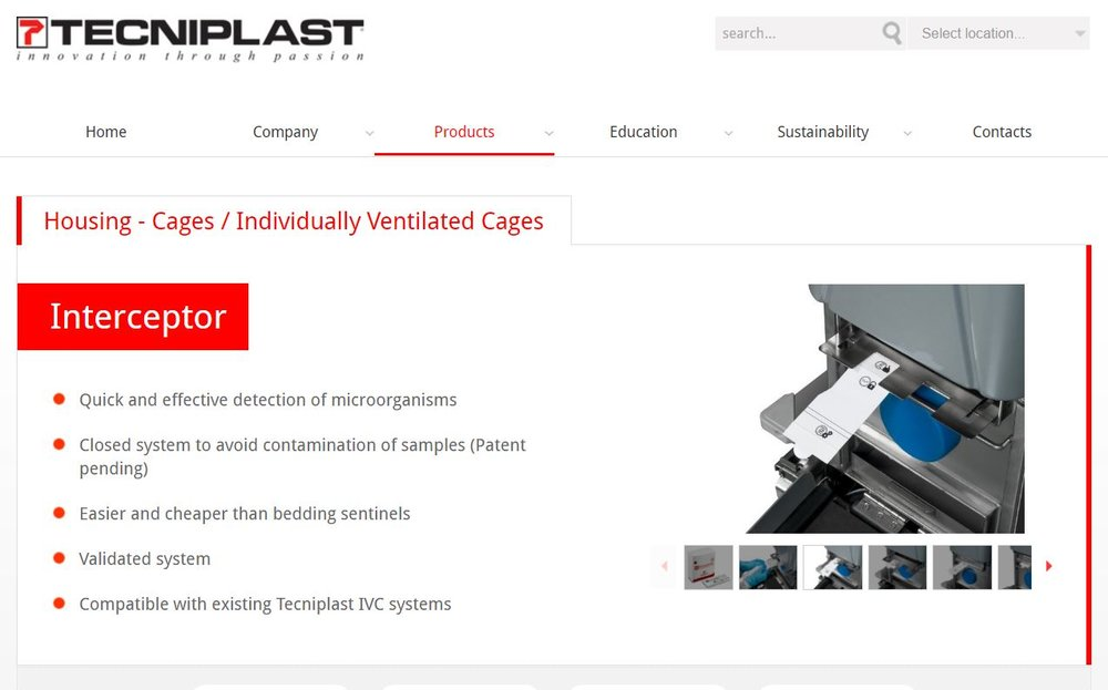 Click here to visit the tecniplast interceptor website