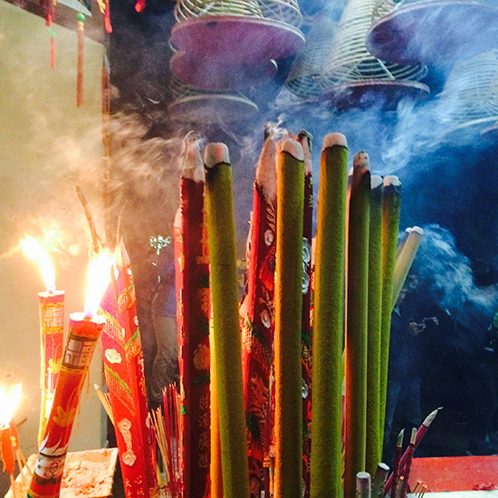First incense at the first moments of Year of Sheep
