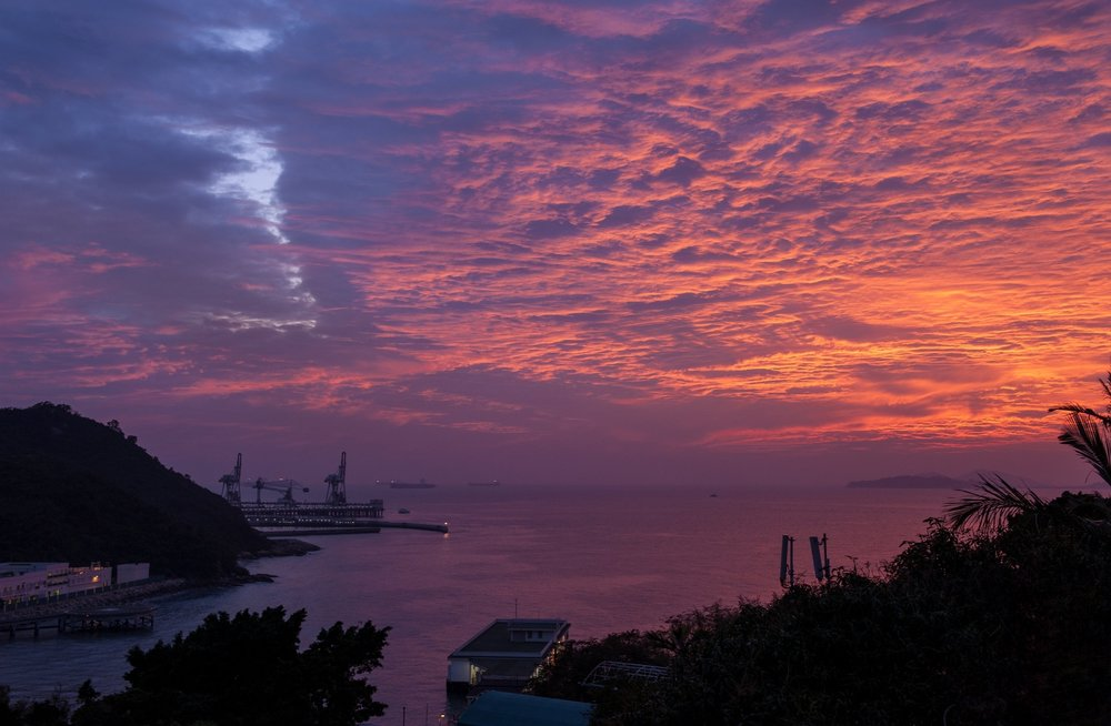 Splendid clouds seen from a rooftop terrace in Po Wah Yuen Village on Lamma Island.