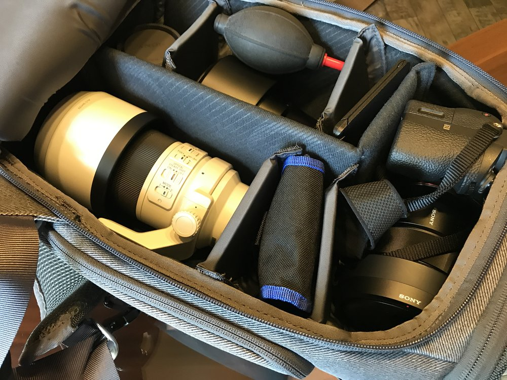 Kameraequipment im Booq Slimpack