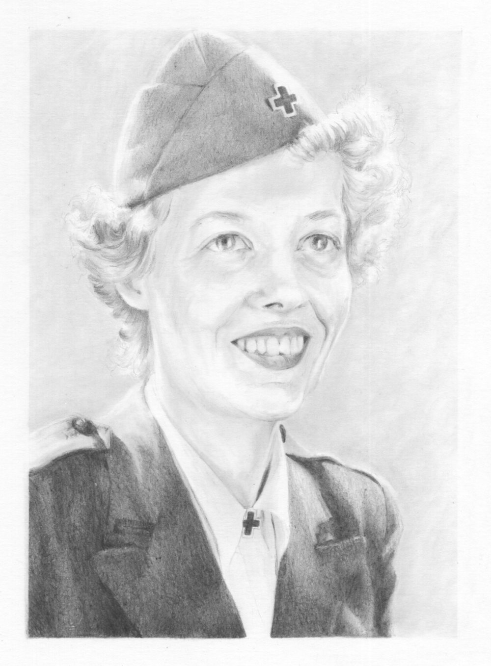8'' x 10'', Pencil on paper, card  This is Elizabeth Black. A woman from Pittsburgh, who joined the American Red Cross in 1943. She travelled to WWII camps from England to Germany as part of the Clubmobile brigades, dispensing coffee and doughnuts, and helping to raise morale. In 1944 she wrote a proposal to Washington to sketch the portraits of the servicemen she came across, and send the drawings back to their loved ones at home.  70 years later, in a chest left in a relative's garage, 100 photographic copies of some of the 1000 sketches she made, were discovered. With them were the notebooks filled by her subjects, many of whom whilst signing and providing home addresses, had left personal messages and poems to her. And along with these, were the letters that she had in turn received from the recipients of those portraits - the mothers, wives, sisters.  It is known that in some cases, though not quite how many, the soldiers had already died before the portrait had reached their families back home.  And that some families still have the sketches hanging in their homes, unaware of who Elizabeth Black was.    (Click on the image to visit Janie's website).