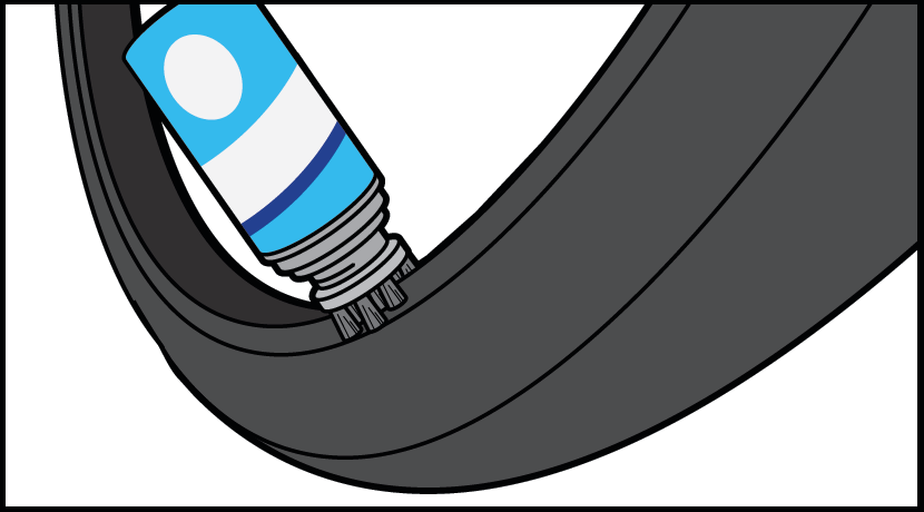 Step 6 - Use Mounting Gel on the bead of your tyre to assist with tyre installation. Mount tyre onto wheel.