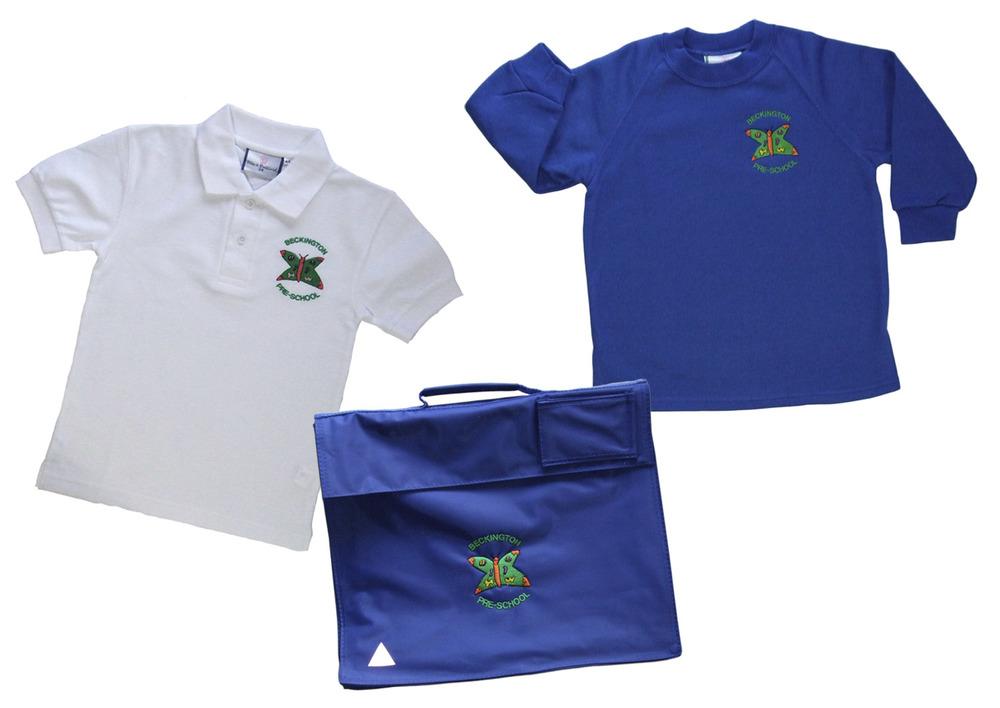 White polo shirt £7.50    Royal blue sweatshirts £8.50    Book bag £4.50