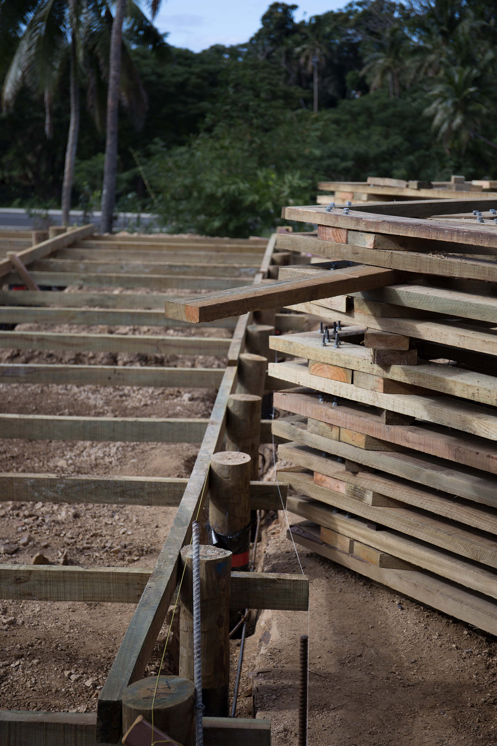 The Naweni portal frames stacked and ready to be erected