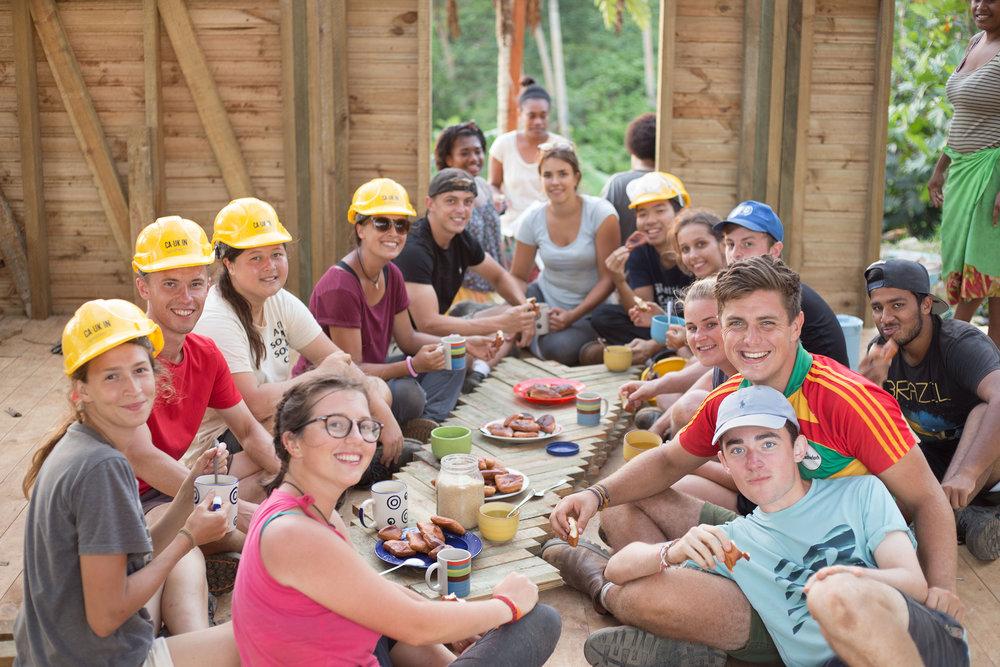 The Vivili Volunteers enjoying a tea break