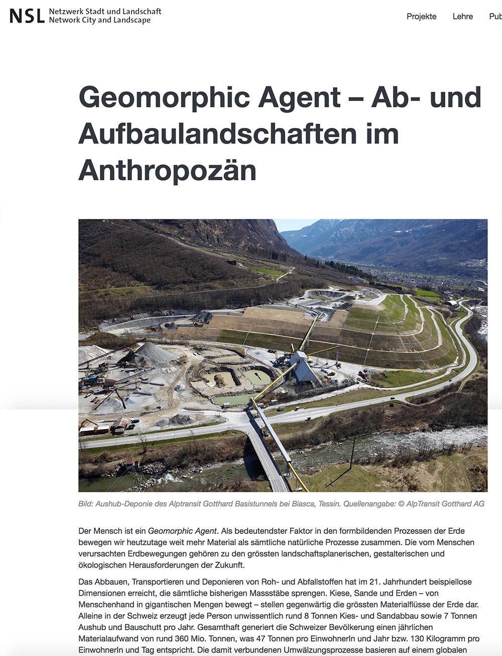 Geomorphic Agent – Ab- und Aufbaulandschaften im Anthropozän  Daia Stutz in: Netzwerk Stadt und Landschaft NSL, Newsletter März 2016