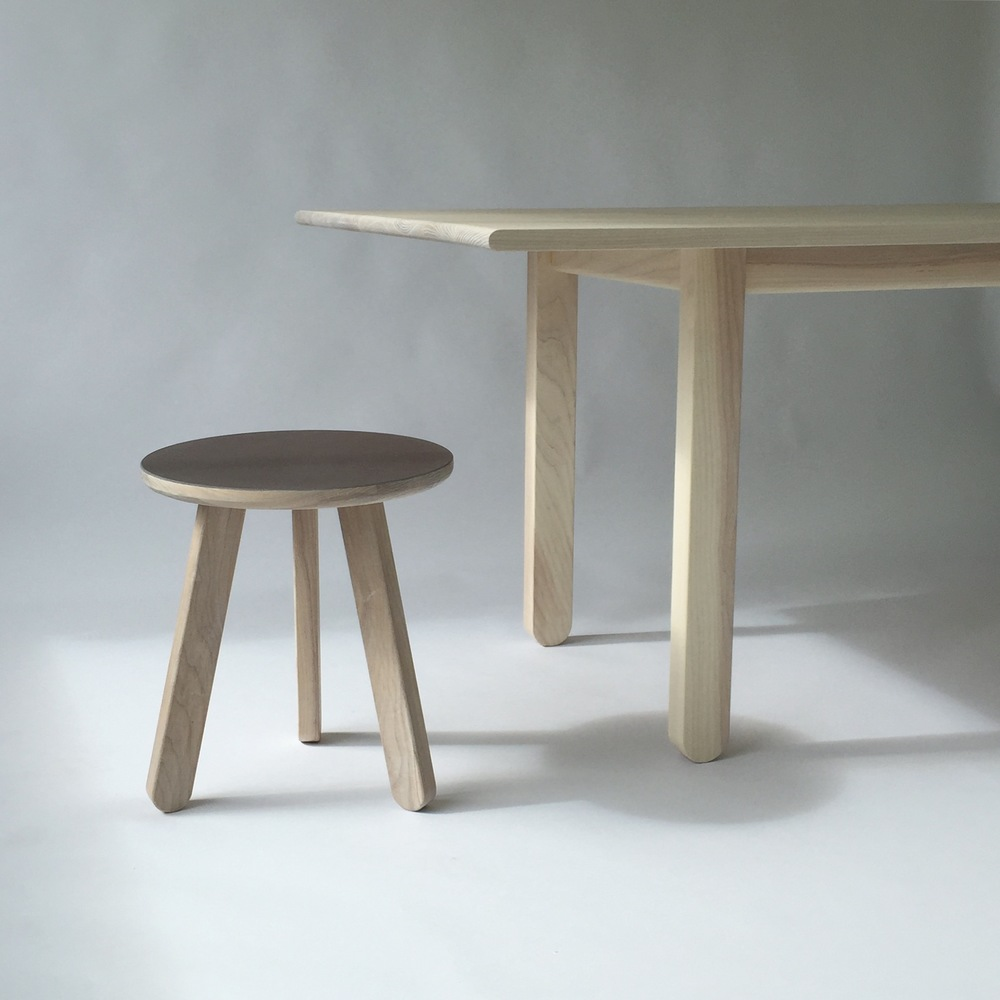 Ash Dining Table with Stool
