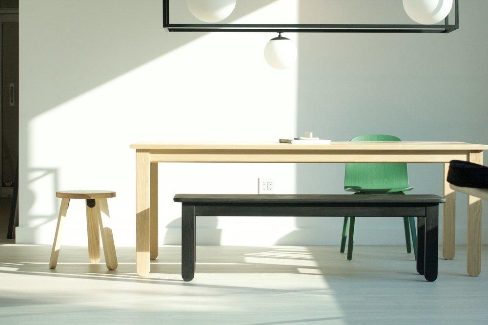Stir Parsons Table ($1075), Stir Stool ($95) + Black Stir Bench ($395)