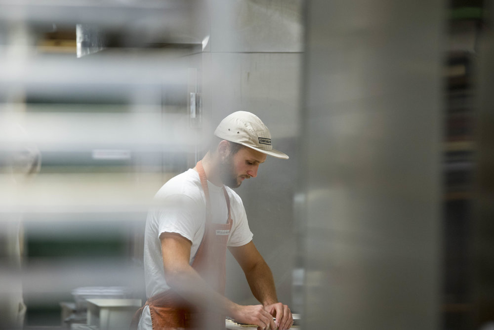 Devin Wistendahl rolls out dough for crossaints to be baked at the Athens Bread Company on September 15, 2016 in Athens, Ohio.