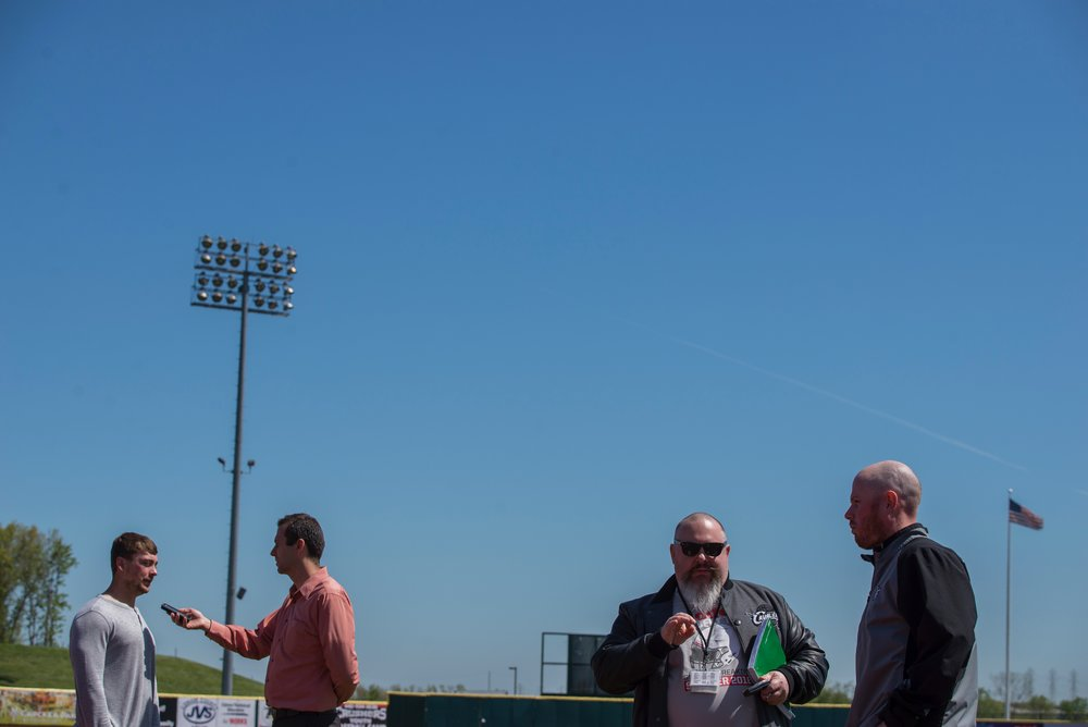 Members of the Crushers speak to local media a few days before opening day.