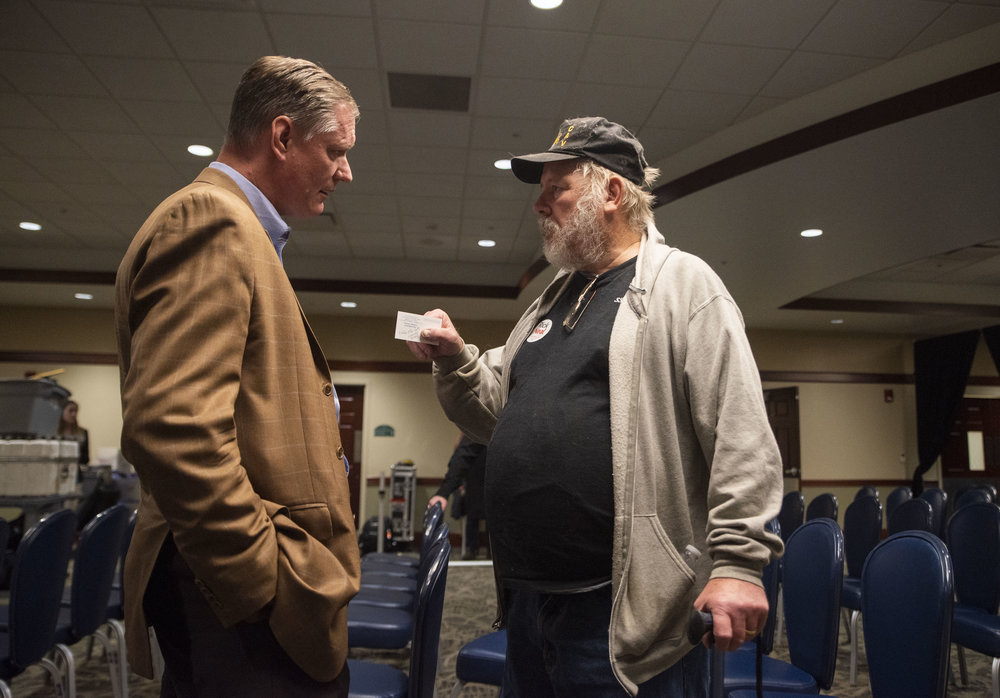 "Edward Mitchell, a Vietnam War veteran and Gold Star Parent converses with U.S. Representative Steve Stivers after a debate between Stivers and candidate for U.S. Representative, Rick Neal. After attempting to speak to Stivers through multiple attempts, he was denied the opportunity to do so.  ""I'm a registered republican. I will vote republican except for his ticket, because I feel my congressman let me down tremendously."""