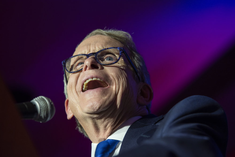 Ohio Governor-Elect, Mike Dewine, speaks to a crowd of supporters after his opponent, Richard Cordray conceded in the race.