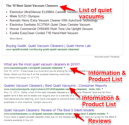 Quiet vacuum cleaner search rankings