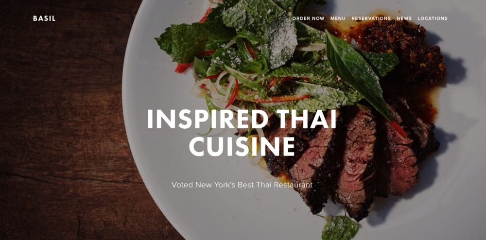 Basil, Squarespace restaurant template