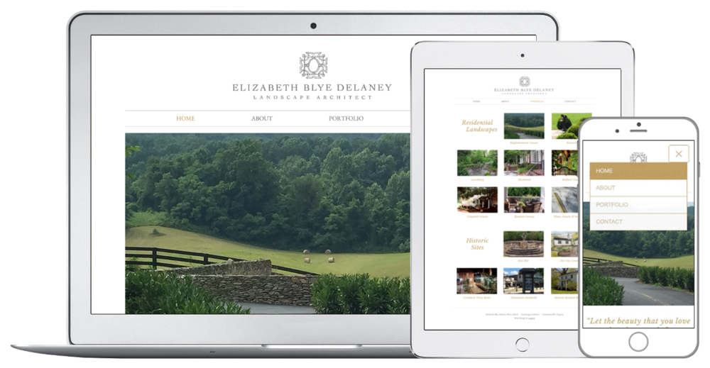 Web design for landscape architect in Charlottesville, VA