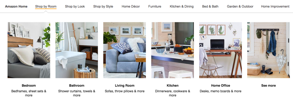 Amazon organizes furniture by room, look, and type.