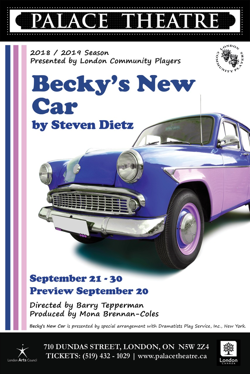 Becky's New Car - By Steven DietzDirector Barry TeppermanPresented by LCPMain Stage, September 20-30, 2018When a woman says she needs new shoes, what she really means is she wants a new job. When she says she needs a new house, what she really needs is a new husband. And when she says she wants a new car, what she really wants is a new life. One night, by chance, she is offered the opportunity to step into another life, and she takes it. Becky's New Car is about life, love, marriage and detours we take on the road to happiness.