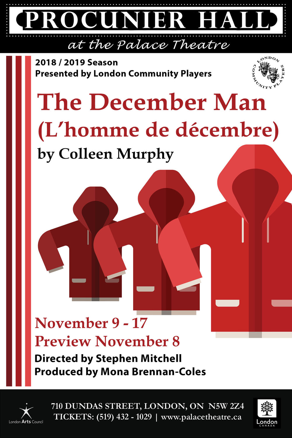 The December Man (L'homme de décembre) - By Colleen MurphyDirector Stephen MitchellPresented by LCPProcunier Hall, November 8-17, 2018Engineering student Jean Fournier escapes the 1989 Montreal Massacre. But his life spirals downward as his feelings overwhelm him. His parents, Benoît and Kathleen, are put to the test as they try to help their only son find a way to cope. Playwright Colleen Murphy takes us back through the lives of the fictional Fournier family and in so doing gives a poignancy to the words, fears, and jests we share every day without knowing how significant they may become. In simple and sensitive dialogue, The December Man (L'homme de décembre) examines our feelings in times of darkness. The depth of the Fournier's love for one another will strike a universal chord.