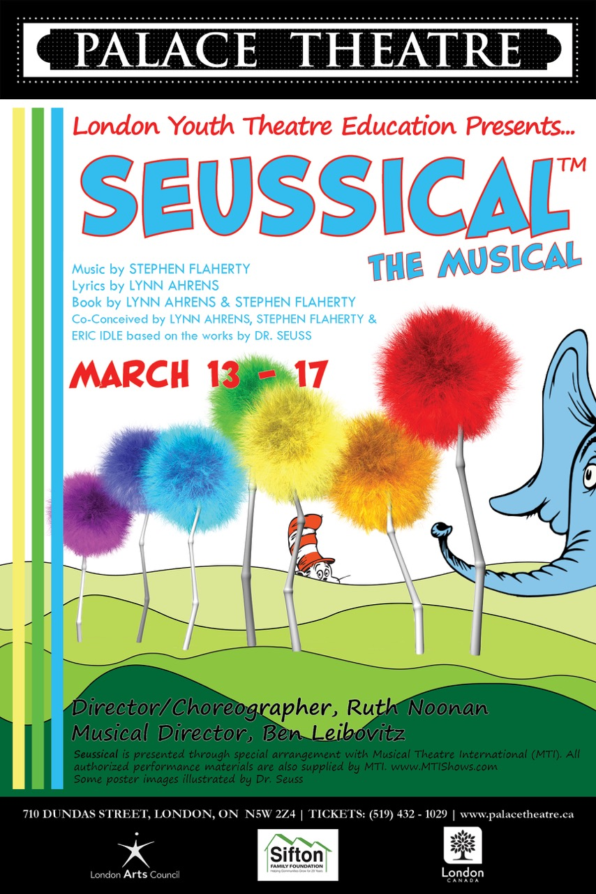 Seussical - By Stephen Flaherty & Lynn AhrensDirector Ruth NoonanPresented by LYTEMain Stage, March 13-17, 2019The Cat in the Hat tells the story of Horton, an elephant who discovers a speck of dust that contains the Whos, including Jojo, a Who child sent off to military school for thinking too many