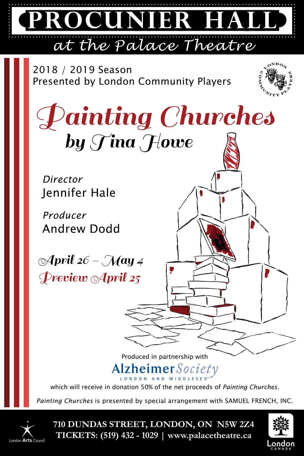 Painting Churches - By Tina HoweDirector Jennifer HalePresented by LCPProcunier Hall, April 25 - May 4, 2019Gardner and Fanny Church are preparing to move out of their Beacon Hill house to their summer cottage on Cape Cod. Gardner, once a famous poet, now is retired. He is living with progressing dementia as his wife Fanny valiantly tries to keep them both afloat. They have asked their daughter, Mags, to come home and help them move. Mags agrees, for she hopes as well to finally paint their portrait. She is now on the verge of artistic celebrity herself and hopes, by painting her parents, to come to terms with them and they with her.