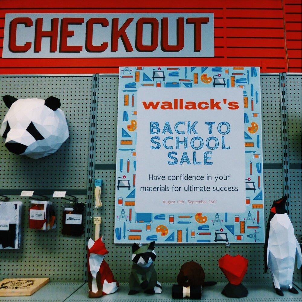 Wallack's Art - Whether you need art supplies for a school project or to de-stress from your homework, Wallack's is the best place around to get your supplies. Now, until September 28th, Wallack's is having a Back to School sale, so be sure to checkout the event soon!
