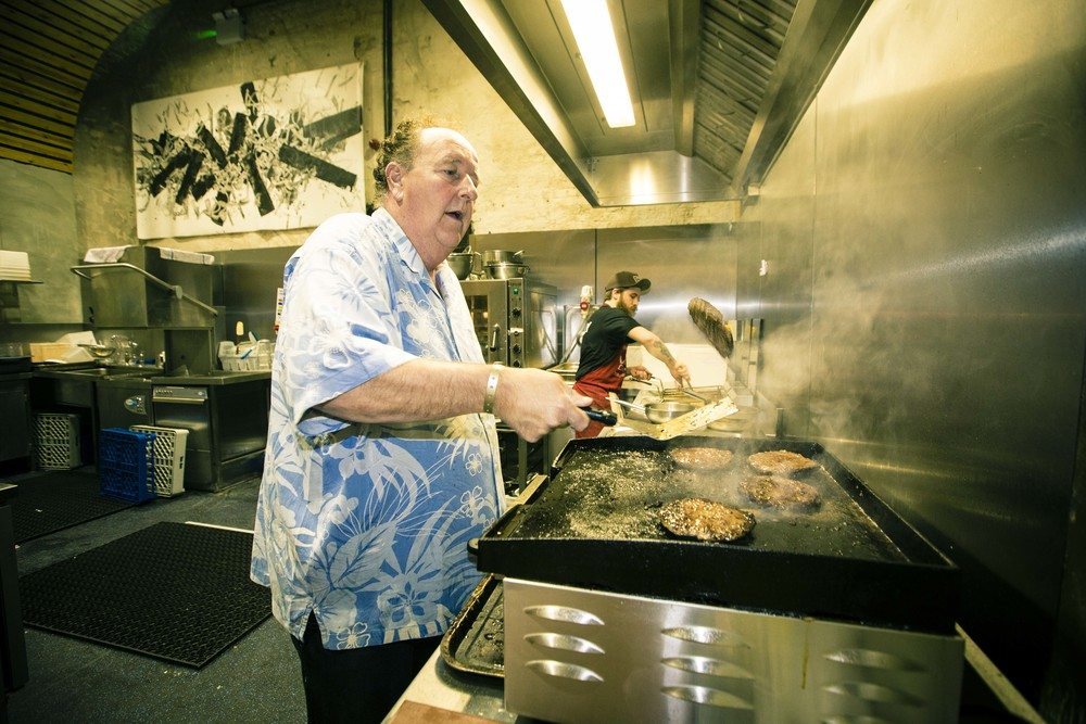Steve Van Doren flipping burgers at the Offical Propeller After Party, House Of Vans London