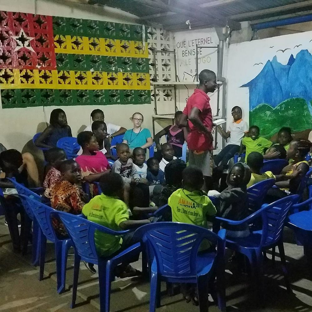 Children receiving instruction