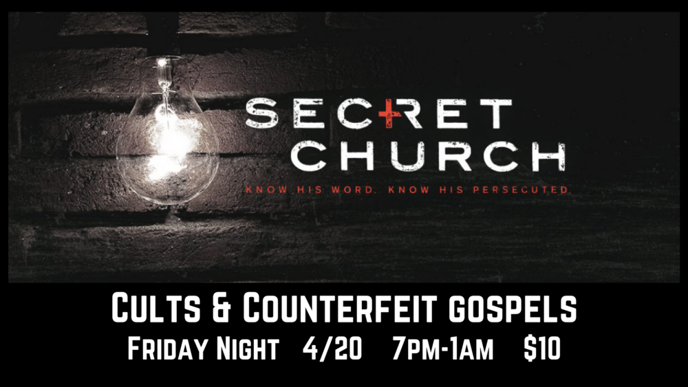 "7 MORE SPOTS AVAILABLE. Register here and choose "" Secret Church "" from the dropdown menu."