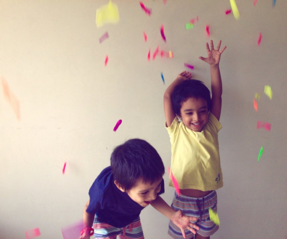 Agastya and Aaroh discovering the joys of making a mess around a year ago.