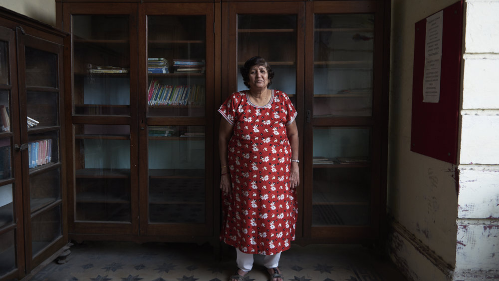 Mrs Gulshan Feradoon Cooper, Head Librarian for forty years at The People's Free Reading Room in Dhobitalao