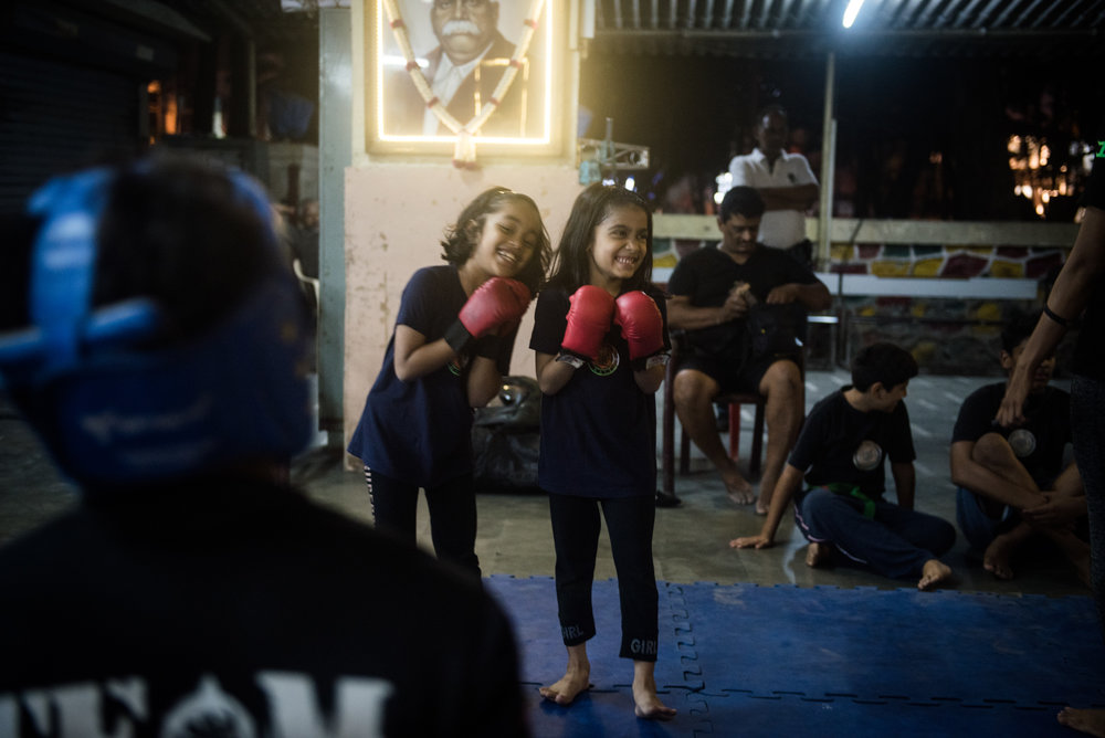 Insiyah and her friend at Fighting Fit, Bandra Hindu Association