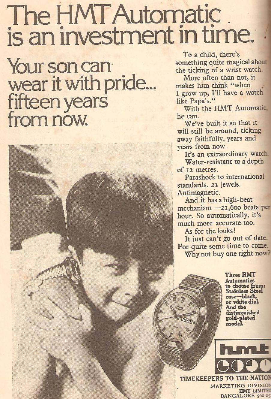 A vintage ad perfectly captures the emotional connection HMT made with Indians. Source:  classicindianads.blogspot.com